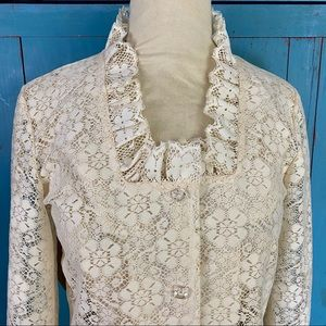 Victorian Lace Vintage Country Boho Blouse Sz Med